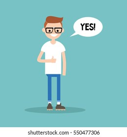 """Thumbs up. Young nerd says """"Yes"""" / editable flat vector illustration"""