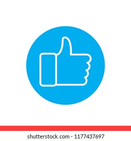 Thumbs up vector icon, hand symbol. Simple, flat design for web or mobile app