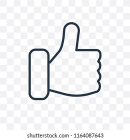 Thumbs up vector icon isolated on transparent background, Thumbs up logo concept
