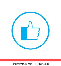 Thumbs up vector icon, like symbol. Simple, flat design for web or mobile app