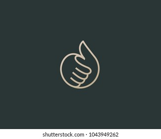 Thumbs up vector logotype. Linear like logo design.