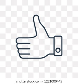 Thumbs up vector outline icon isolated on transparent background, high quality linear Thumbs up transparency concept can be used web and mobile