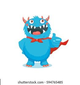 Thumbs Up Vector. Superhero Monster. Your Inner Cute Beast. Cute Monster Cartoon Mascot Character Giving Thumbs Up.