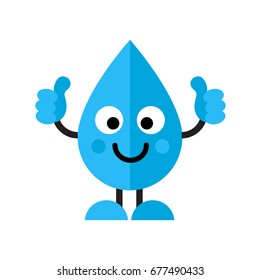 Thumbs up water drop cartoon character icon isolated on white background. Flat style. Art vector illustration.