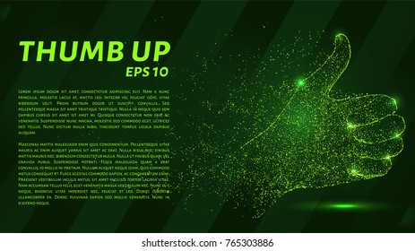 Thumbs up which consists of points. Particles in the form of thumbs up on a dark background. Vector illustration. Graphic concept business