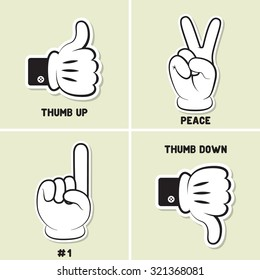 Thump up. Thump down. Peace. #1. Hand gesture. Vector illustration. Stickers design