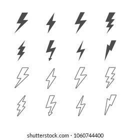 Thunder Bold Lightning Flash icons stock vector image eps 10