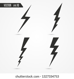 Thunder and bolt lighting. Flash icon isolated on transparent background. Graphic symbol element.
