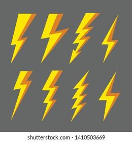 Thunder and Bolt Lighting Flash Icons Set. Flat Style Electric thunderbolt symbol icon. Thunderstorm