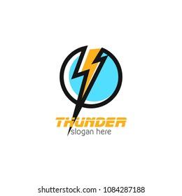 Thunder and bolt lightning flash logo icon template design. Power energy vector illustration