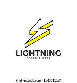 Thunder and bolt lightning flash logo icon template design. Power energy vector illustration.