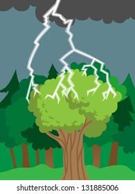 Thunder bolt or lightning hits tree or forest, cartoon vector illustration