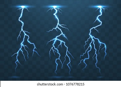 Thunder bolt and lightnings, realistic thunderstorm electricity flash. Electric blue glowing  lightning blitz at night stormy sky isolated on transparency vector set