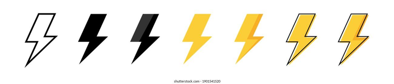 Thunder bolt vector icon. Flash logo set. Lightning icons white background. Electrical sign. Thunderbolt symbol. Electric concept stock vector illustration.