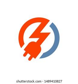 Thunder Bolt Voltage and Plug Logo Electrical Logo