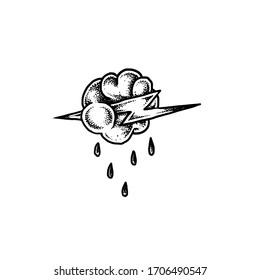 Thunder cloud illustration traditional tattoo Vector