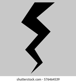 Thunder Crack vector icon symbol. Flat pictogram designed with black and isolated on a silver gray background.