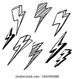 thunder doodle illustration vector handdrawn cartoon style