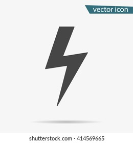 Thunder icon. Lightning vector isolated. Modern simple flat warning sign. Electr icty nternet concept. Trendy nature vector electricty symbol for website design, web button. Logo thunder illustation.