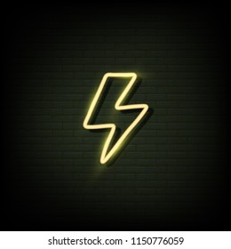 thunder icon Neon sign, bright signboard, light banner. Vector.