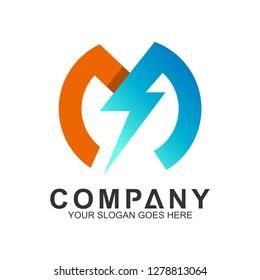 thunder letter M logo design template