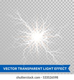 Thunder lightning flash light on transparent background. Vector realistic electricity ball lightning storm or thunderbolt in sky. Natural phenomenon illustration of human nerve or neural cells system