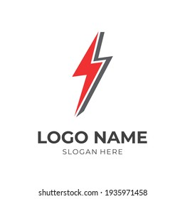thunder logo template with flat red and black color style