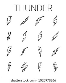 Thunder related vector icon set. Well-crafted sign in thin line style with editable stroke. Vector symbols isolated on a white background. Simple pictograms.