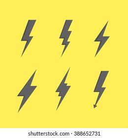 Thunder set of black icons storm lightning