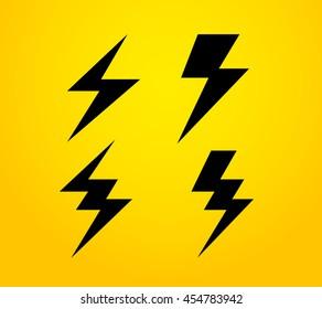 Thunder silhouette vector icon