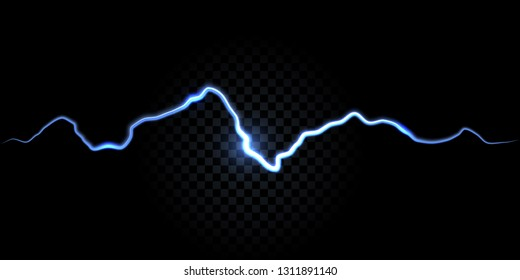 Thunder spark, electric flash vector background. Electricity thunderbolt white and blue spark abstract effect background