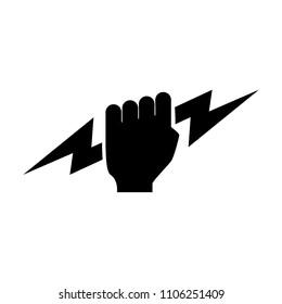 Thunder titan hand vector logo. Zeus Hand. Lightning hand.
