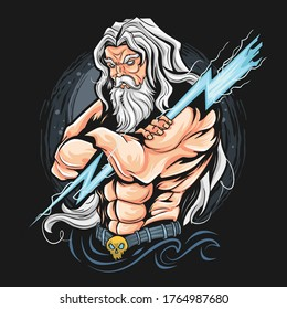 THUNDER ZEUS GOD ARTWORK VECTOR CAN USE FOR T-SHIRT, OR GAMER ESPORT LOGO. VECTOR IS EDITABLE LAYERS