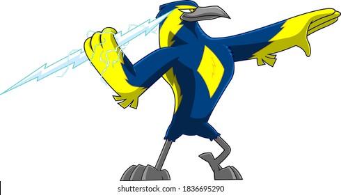 Thunderbird Bird Cute Cartoon Character Holding A Big Тhunderbolt. Vector Illustration Isolated On White Background
