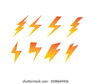thunderbolt electric symbol set power electricity vector logo design template