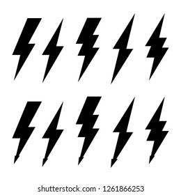 Thunderbolt and high voltage black icons for design
