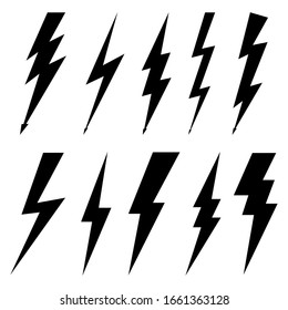 Thunderbolt icons isolated on white background. Black silhouettes in flat style. Lightning bolt with electric high voltage. Lightning strike bolt is symbols warning danger. Cartoon elements. Vector.