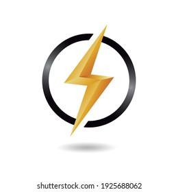 ThunderBolt Logo Design Concept in a Black Circle.