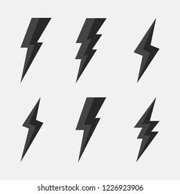 Thunderbolts icons. Lightning icons isolated on white background. Vector illustration