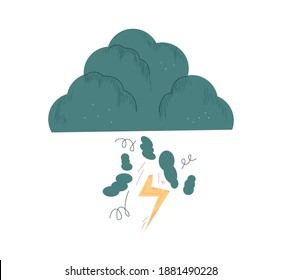 Thundercloud. Dark cloud with lightning, rain and wind. Simple abstract storm cloud flat vector illustration isolated on white background. Symbol of negative emotion, grief, depression concept