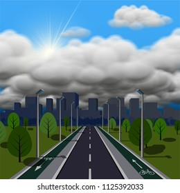 Thunderstorm is coming vector illustration. Straight empty road through the countryside with bike lane.