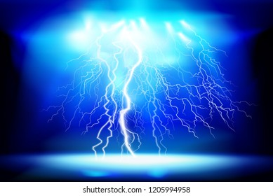 Thunderstorm, electric discharge. Light show at night. Vector illustration.