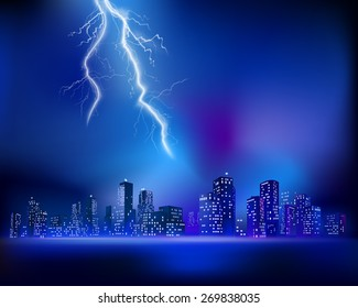 Thunderstorm over the City. Vector illustration