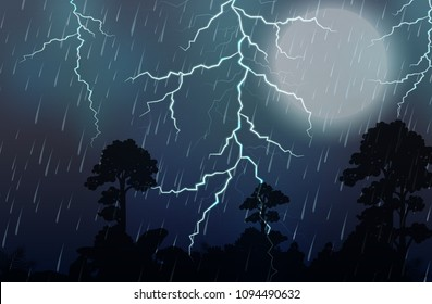 A Thunderstorm and Rain Night illustration