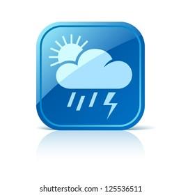 Thunderstorm, rain and sun vector icon