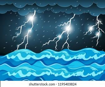 Thunderstorm at the sea  illustration