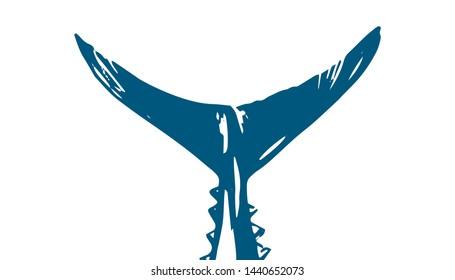 Thunnus thynnus. Hand Drawn red tuna tail. Design elements for logo, label, emblem, sign, brand mark.