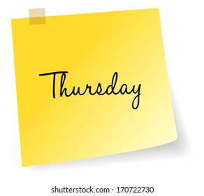 Thursday Yellow Sticky Note