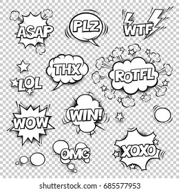 Thx, ASAP, PLZ, WTF, LOL, ROTFL, WOW, WIN, OMG, XOXO. Comic speech bubbles set with different shapes and elements on white background. Halftones, stars in separated layers. Black and white.