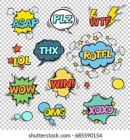 Thx, ASAP, PLZ, WTF, LOL, ROTFL, WOW, WIN, OMG, XOXO. Comic speech bubbles set. Halftones, stars and other elements in separated layers. Colorful design on transparent background.